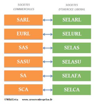 Equivalence société commerciale et SEL