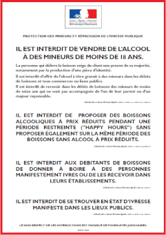 Affiche interdiction vente alcool mineurs